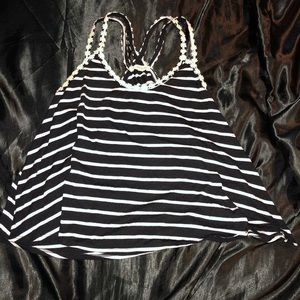 Black and white striped daisy top